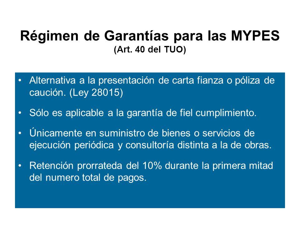 Régimen de Garantías para las MYPES (Art. 40 del TUO)
