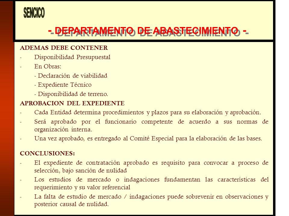 - DEPARTAMENTO DE ABASTECIMIENTO -