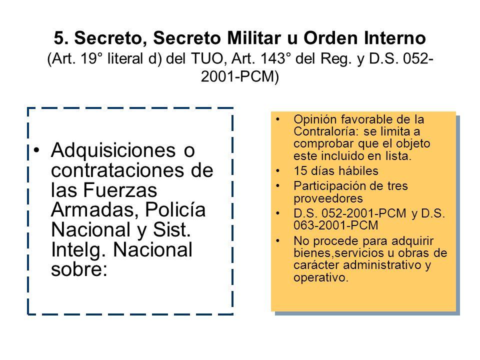 5. Secreto, Secreto Militar u Orden Interno (Art