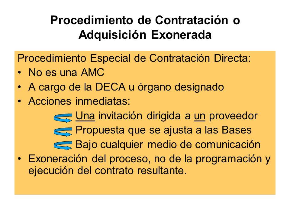 Procedimiento de Contratación o Adquisición Exonerada