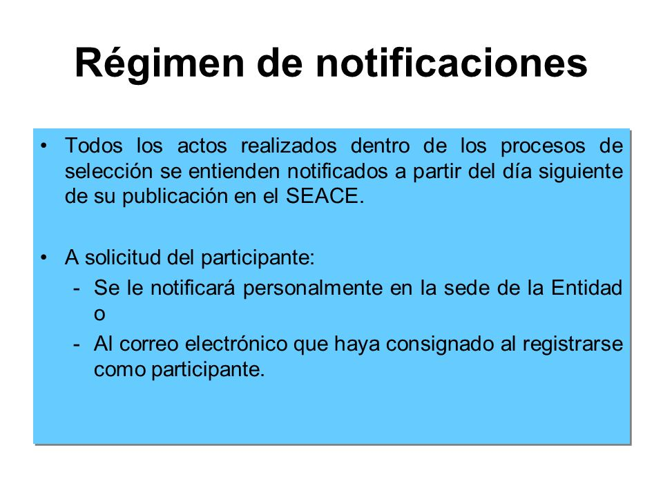 Régimen de notificaciones