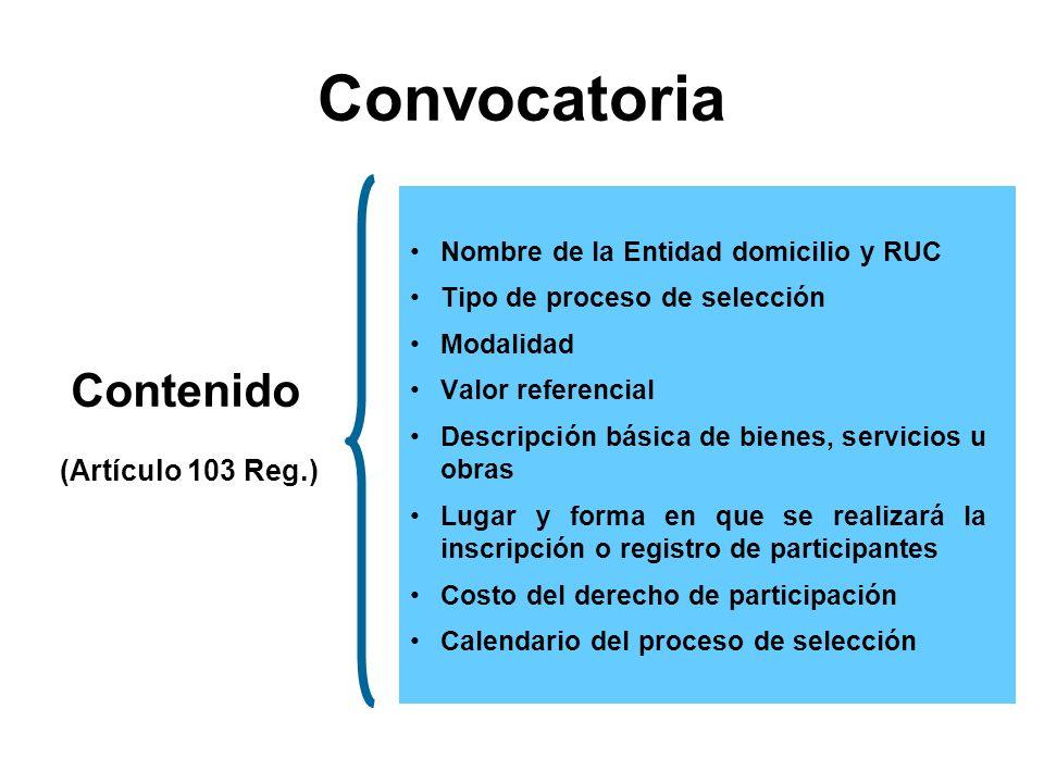 Convocatoria Contenido (Artículo 103 Reg.)