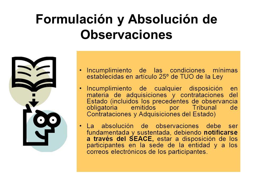 Formulación y Absolución de Observaciones