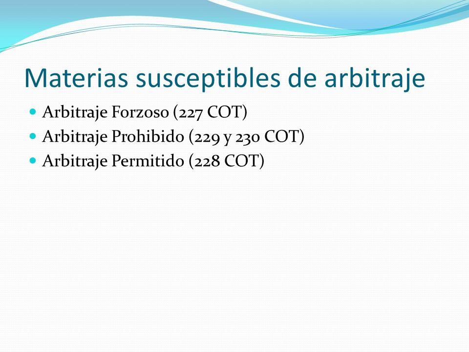 Materias susceptibles de arbitraje