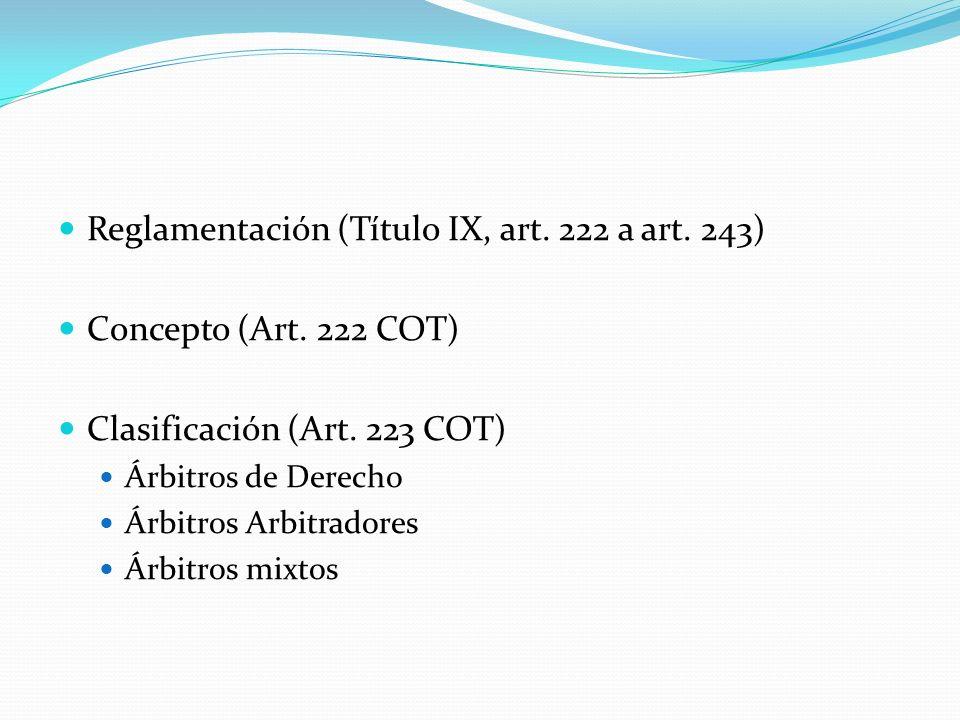 Reglamentación (Título IX, art. 222 a art. 243)