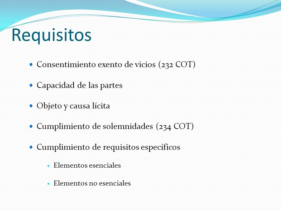 Requisitos Consentimiento exento de vicios (232 COT)