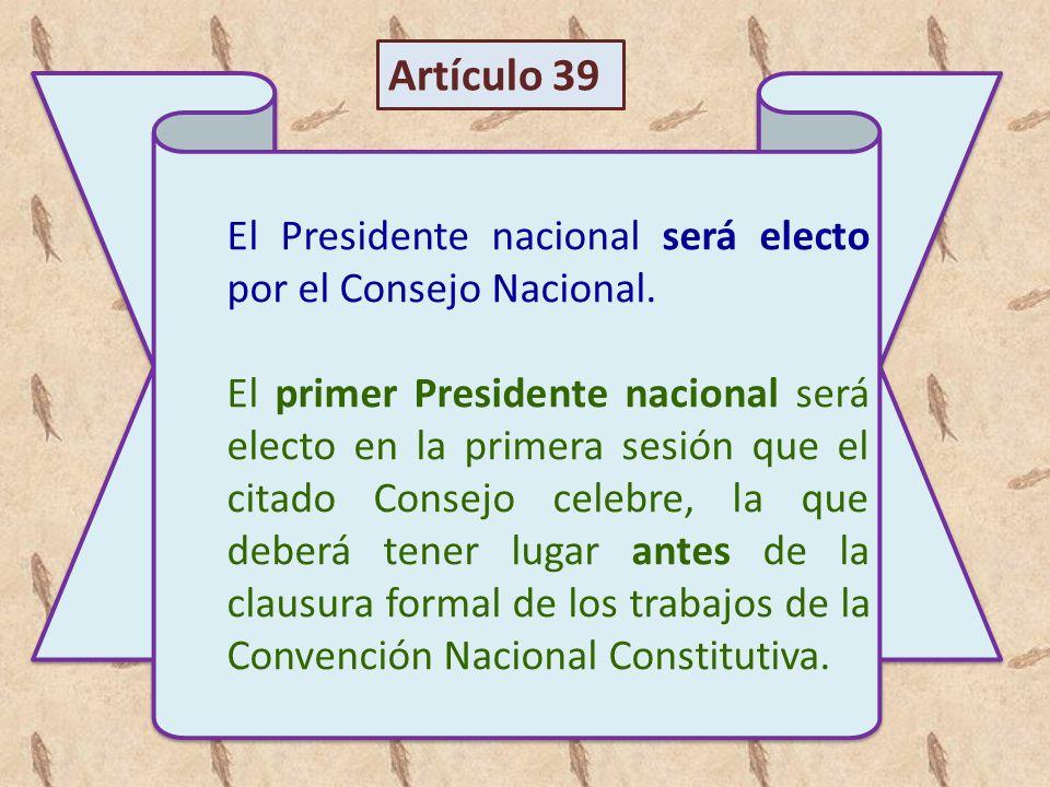 Artículo 39 El Presidente nacional será electo por el Consejo Nacional.