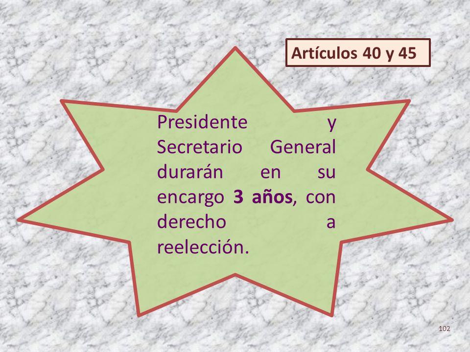 Artículos 40 y 45 Presidente y Secretario General durarán en su encargo 3 años, con derecho a reelección.