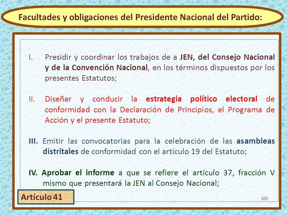 Facultades y obligaciones del Presidente Nacional del Partido: