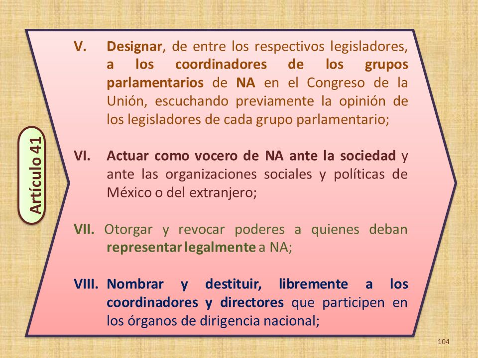 Designar, de entre los respectivos legisladores, a los coordinadores de los grupos parlamentarios de NA en el Congreso de la Unión, escuchando previamente la opinión de los legisladores de cada grupo parlamentario;