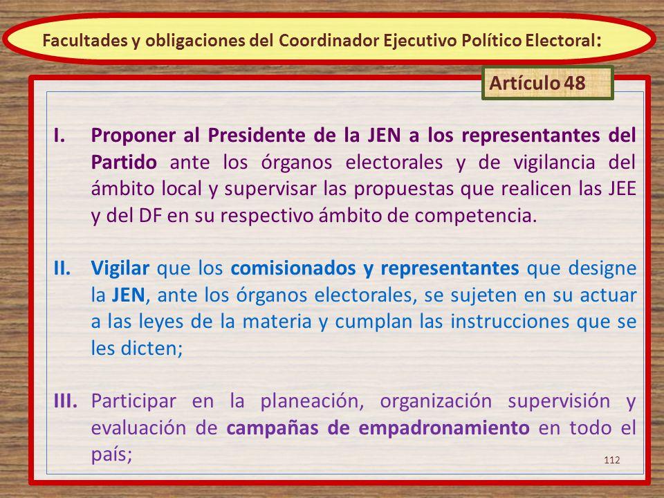 Facultades y obligaciones del Coordinador Ejecutivo Político Electoral: