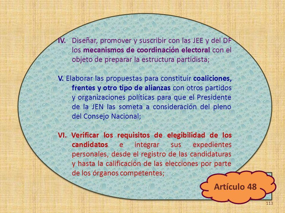 IV. Diseñar, promover y suscribir con las JEE y del DF los mecanismos de coordinación electoral con el objeto de preparar la estructura partidista;