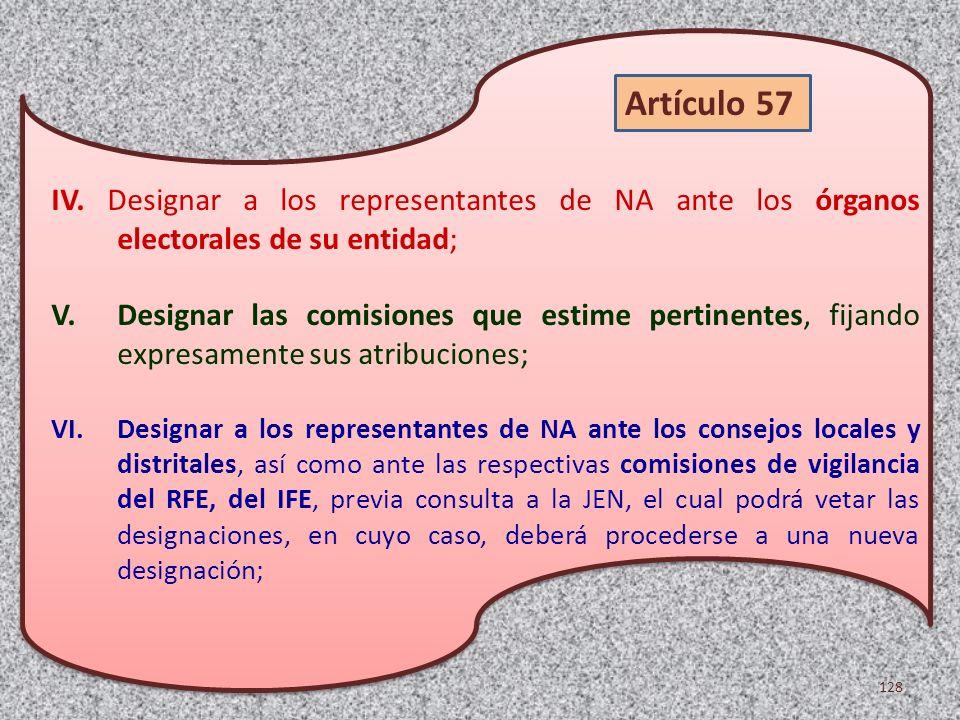 IV. Designar a los representantes de NA ante los órganos electorales de su entidad;