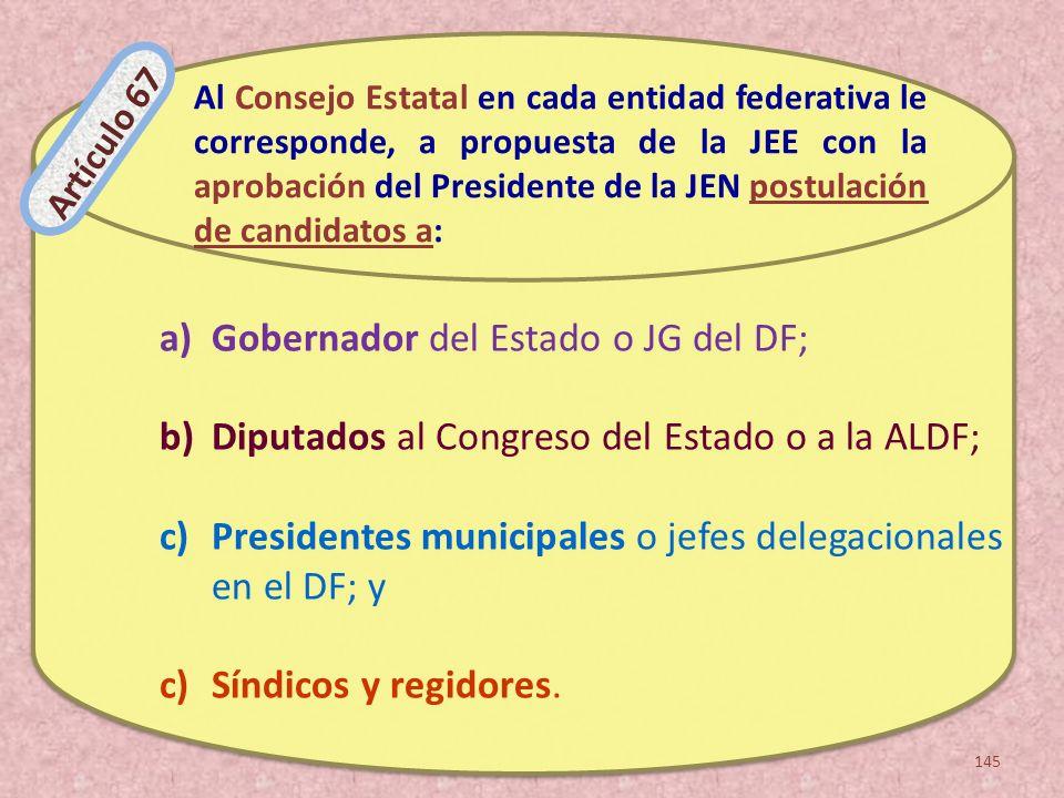 Gobernador del Estado o JG del DF;