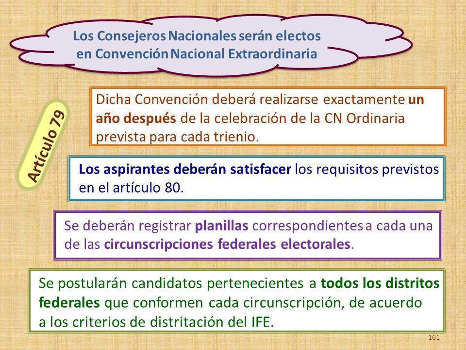 Los Consejeros Nacionales serán electos en Convención Nacional Extraordinaria