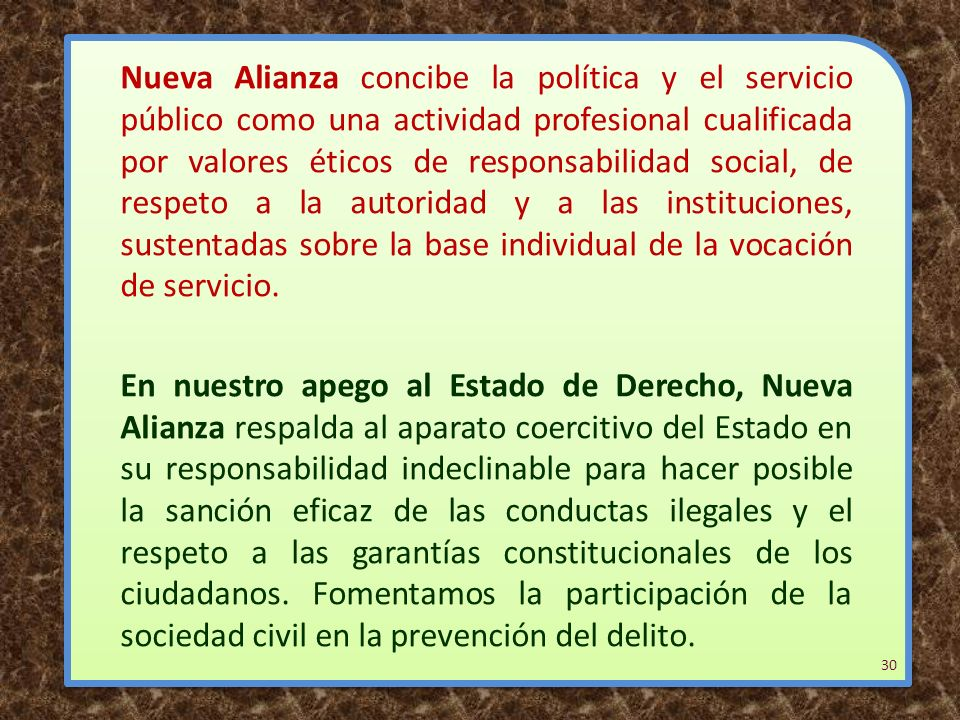 Nueva Alianza concibe la política y el servicio público como una actividad profesional cualificada por valores éticos de responsabilidad social, de respeto a la autoridad y a las instituciones, sustentadas sobre la base individual de la vocación de servicio.