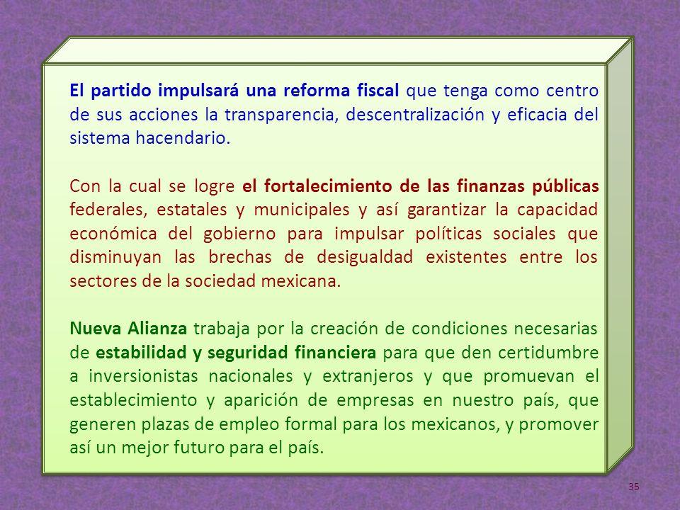 El partido impulsará una reforma fiscal que tenga como centro de sus acciones la transparencia, descentralización y eficacia del sistema hacendario.