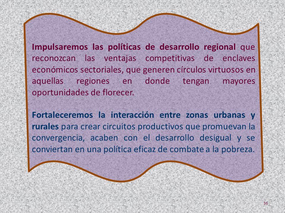 Impulsaremos las políticas de desarrollo regional que reconozcan las ventajas competitivas de enclaves económicos sectoriales, que generen círculos virtuosos en aquellas regiones en donde tengan mayores oportunidades de florecer.
