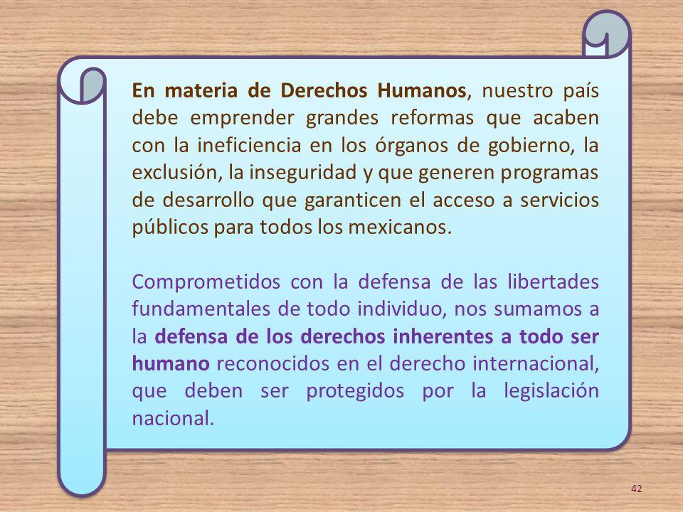 En materia de Derechos Humanos, nuestro país debe emprender grandes reformas que acaben con la ineficiencia en los órganos de gobierno, la exclusión, la inseguridad y que generen programas de desarrollo que garanticen el acceso a servicios públicos para todos los mexicanos.