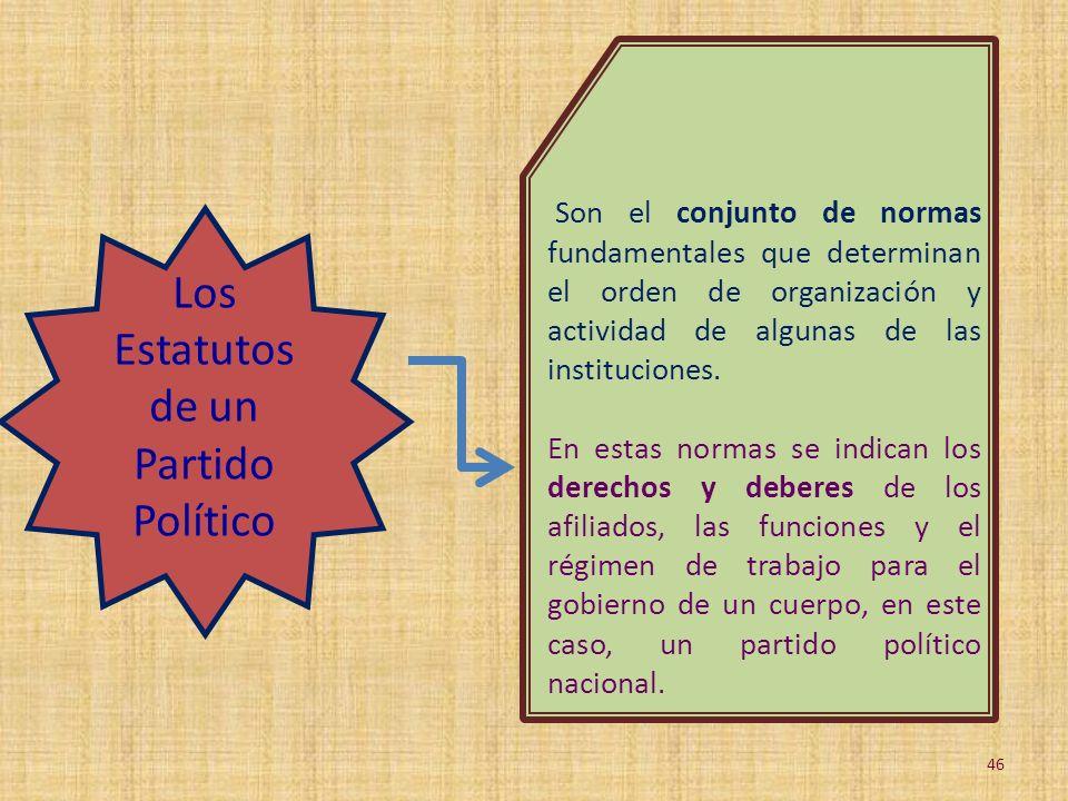 Los Estatutos de un Partido Político