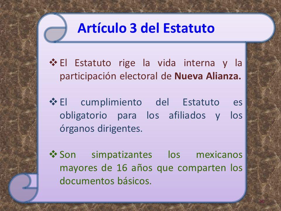 El Estatuto rige la vida interna y la participación electoral de Nueva Alianza.
