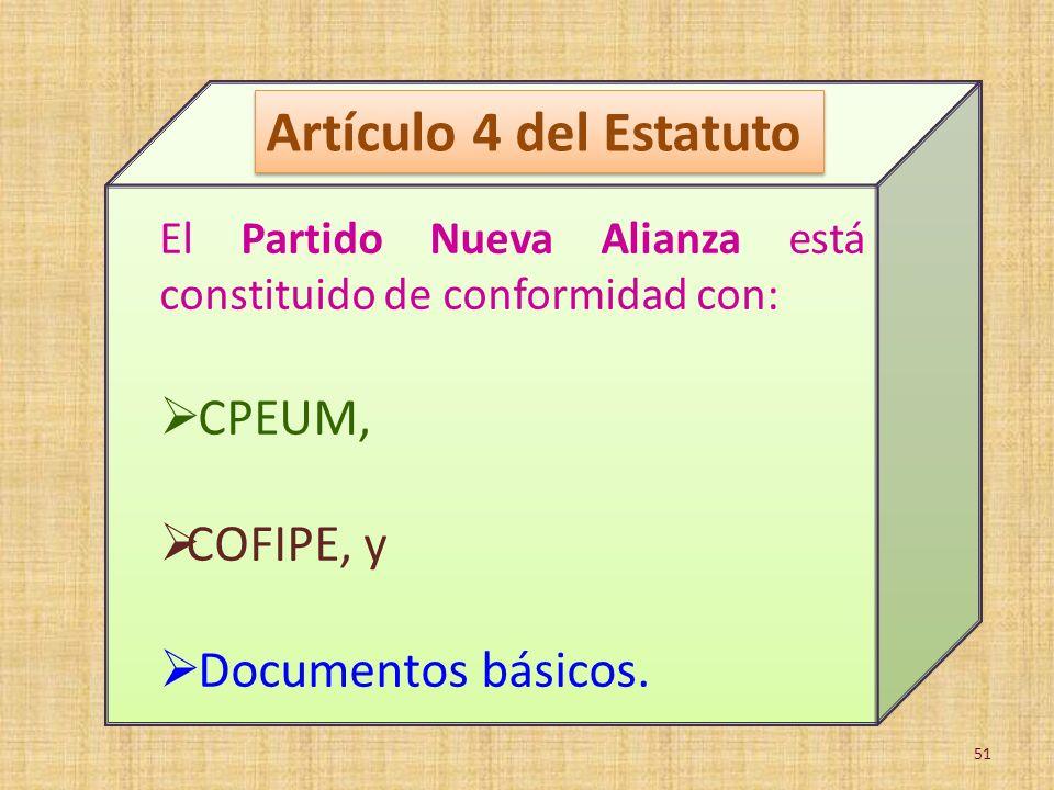 Artículo 4 del Estatuto CPEUM, COFIPE, y Documentos básicos.