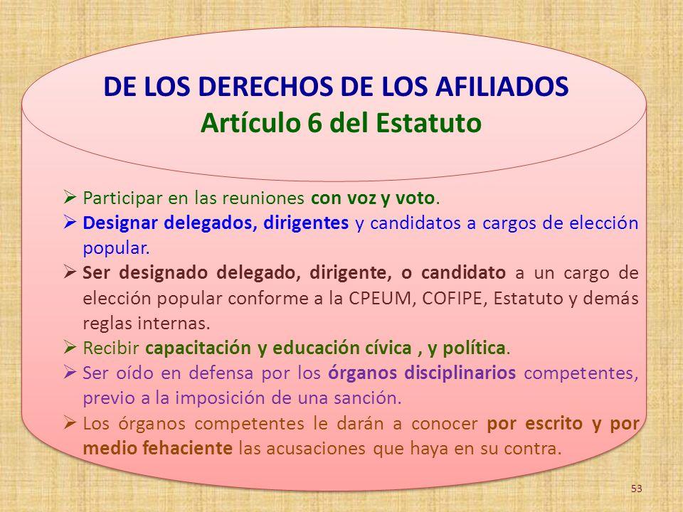 DE LOS DERECHOS DE LOS AFILIADOS Artículo 6 del Estatuto