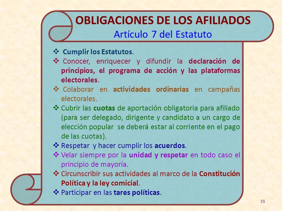 OBLIGACIONES DE LOS AFILIADOS