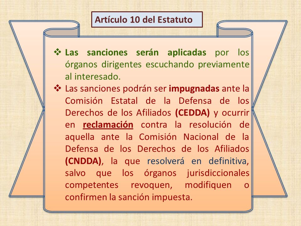 Artículo 10 del Estatuto Las sanciones serán aplicadas por los órganos dirigentes escuchando previamente al interesado.