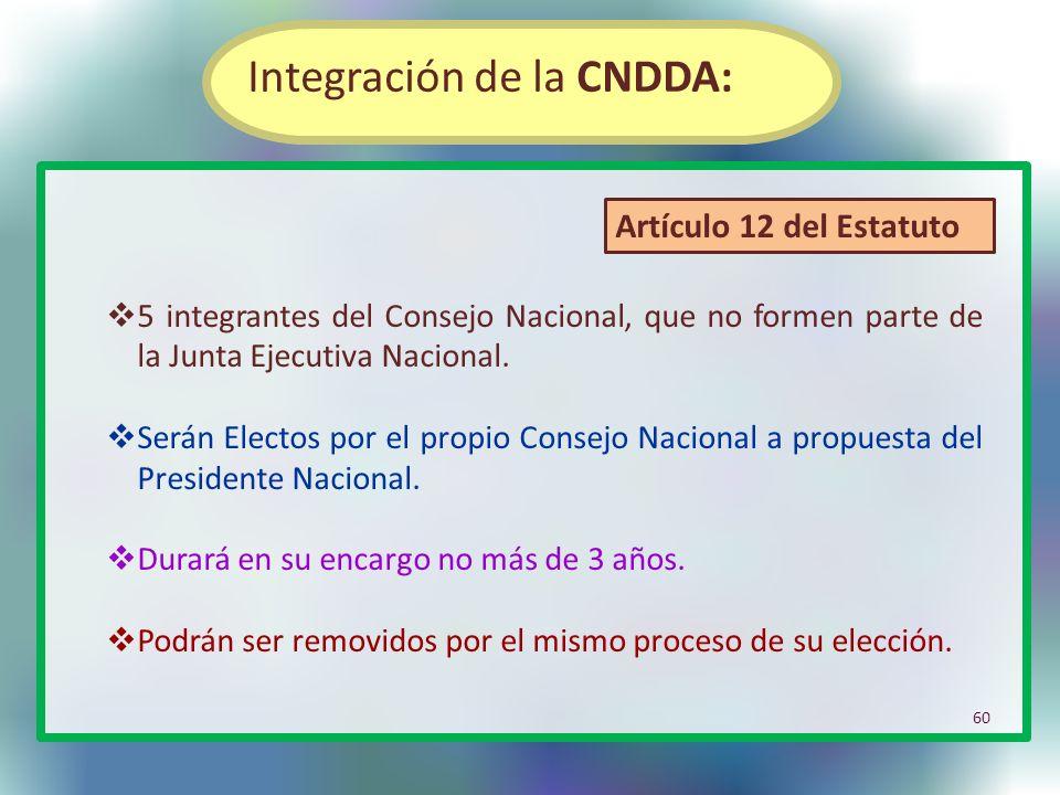 Integración de la CNDDA:
