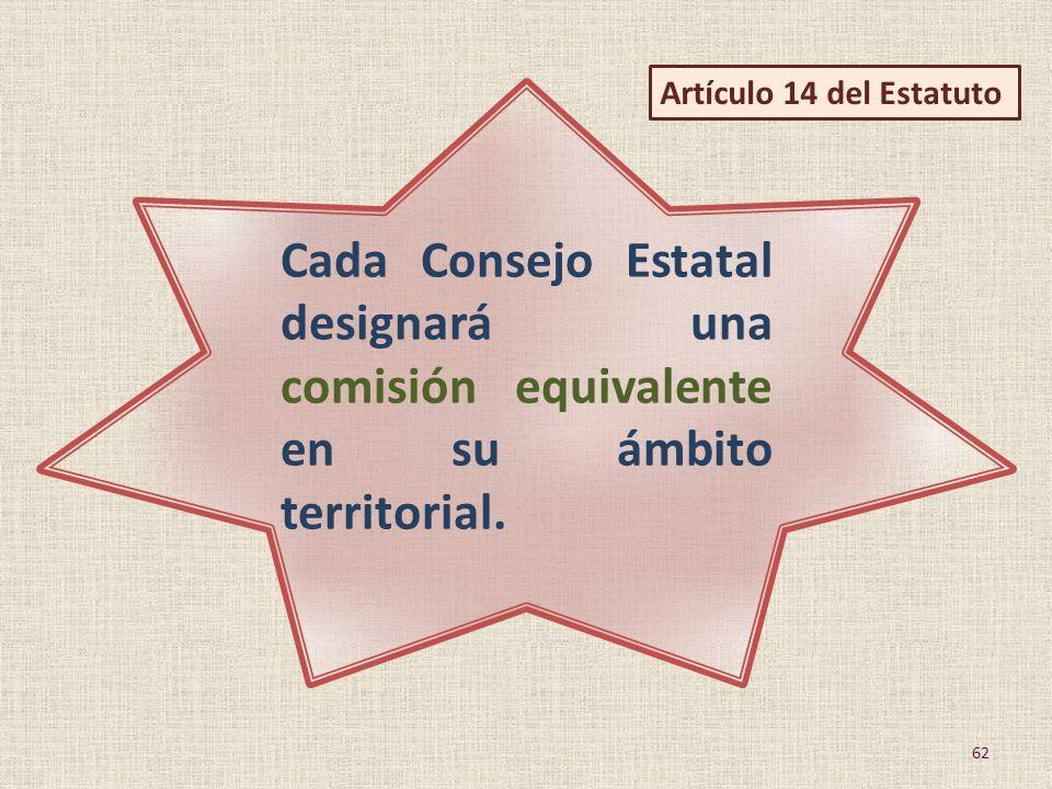 Artículo 14 del Estatuto Cada Consejo Estatal designará una comisión equivalente en su ámbito territorial.