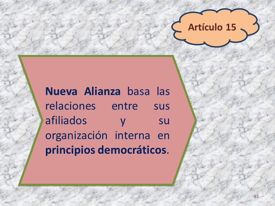 Artículo 15 Nueva Alianza basa las relaciones entre sus afiliados y su organización interna en principios democráticos.