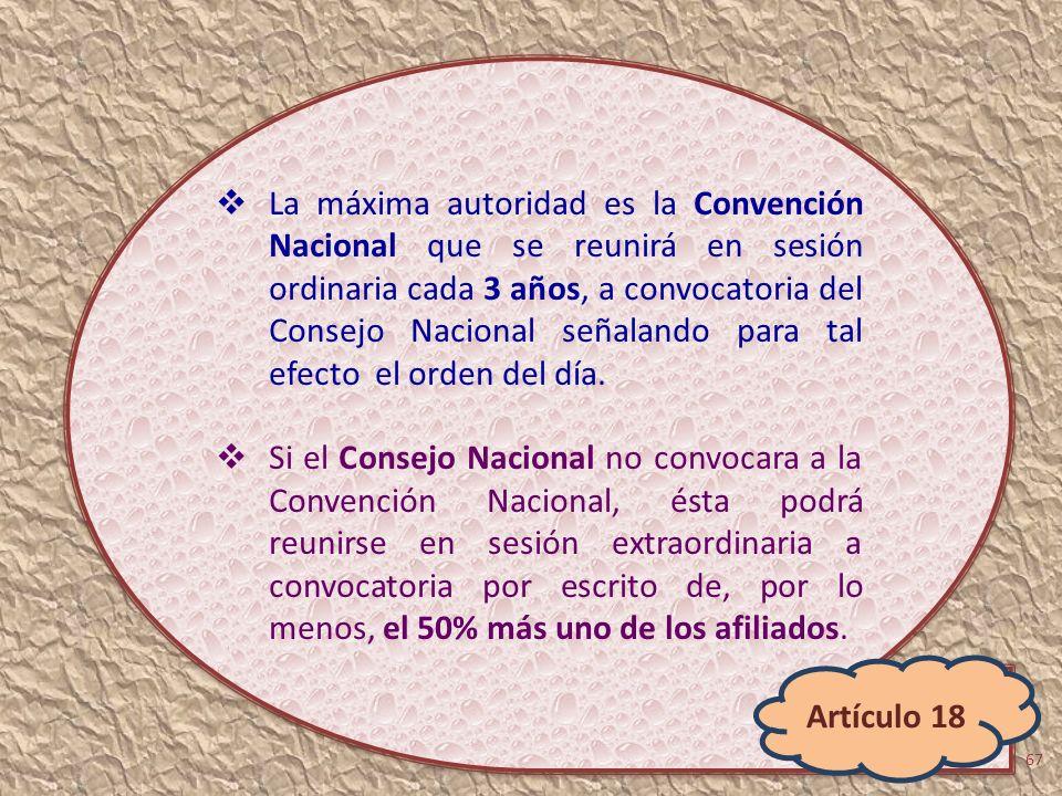 La máxima autoridad es la Convención Nacional que se reunirá en sesión ordinaria cada 3 años, a convocatoria del Consejo Nacional señalando para tal efecto el orden del día.