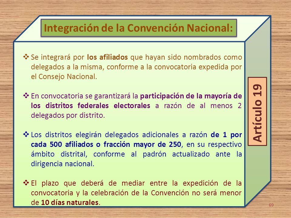 Artículo 19 Integración de la Convención Nacional: