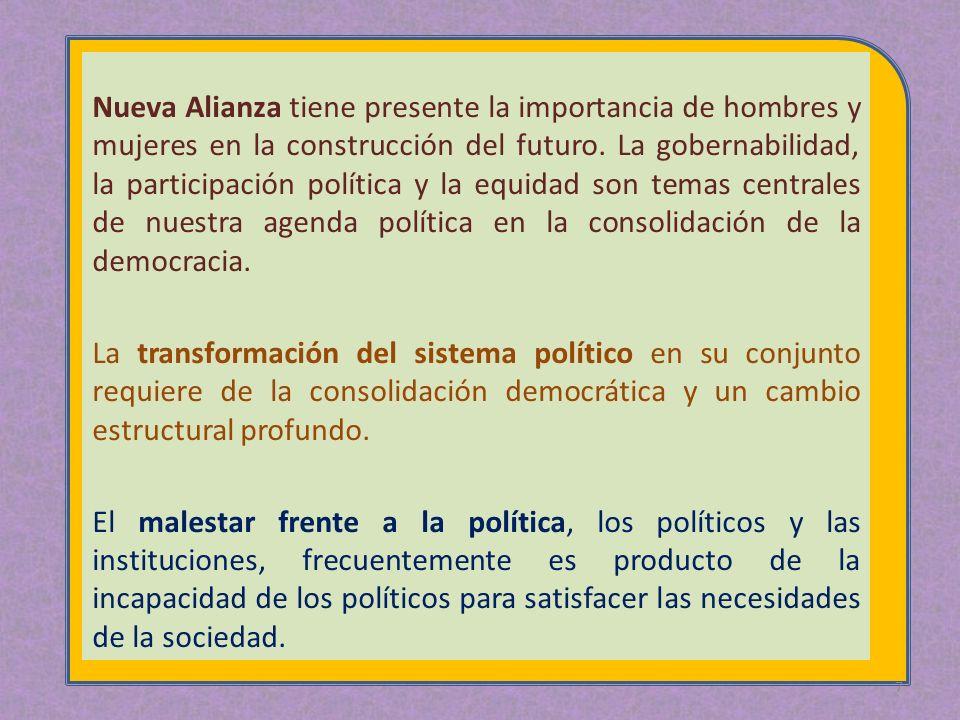 Nueva Alianza tiene presente la importancia de hombres y mujeres en la construcción del futuro. La gobernabilidad, la participación política y la equidad son temas centrales de nuestra agenda política en la consolidación de la democracia.