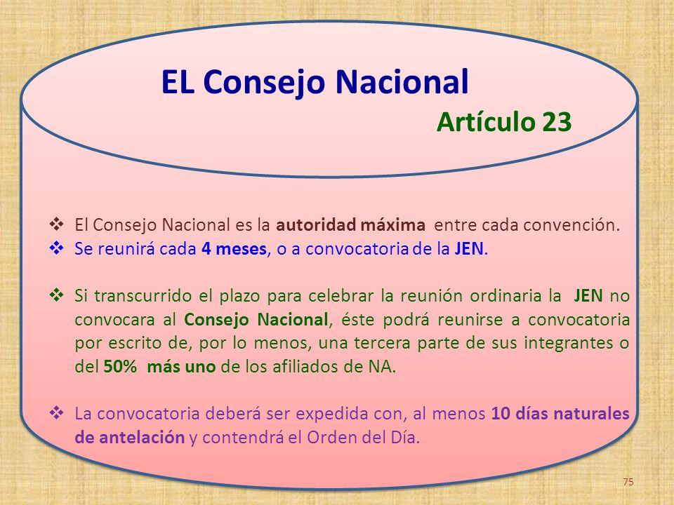 EL Consejo Nacional Artículo 23