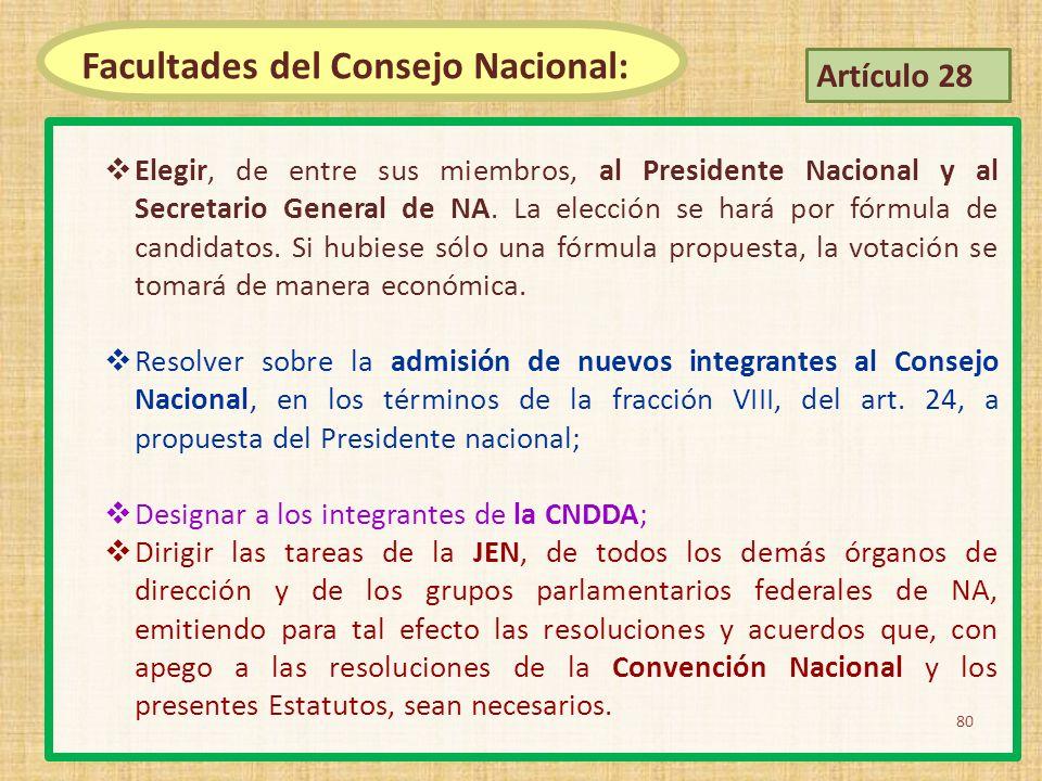 Facultades del Consejo Nacional: