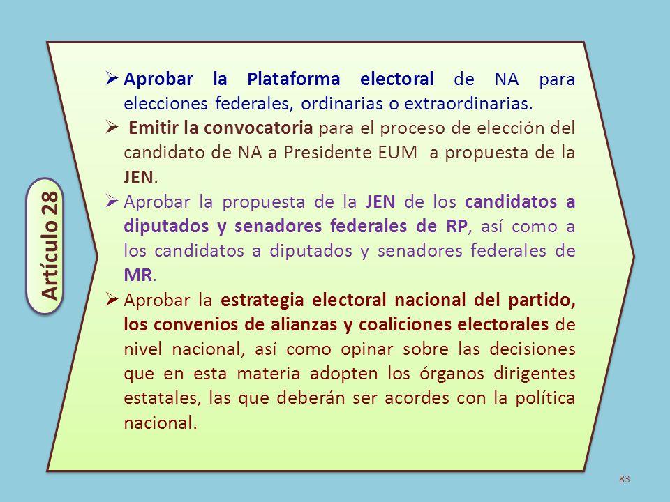 Aprobar la Plataforma electoral de NA para elecciones federales, ordinarias o extraordinarias.