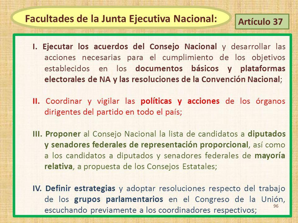 Facultades de la Junta Ejecutiva Nacional: