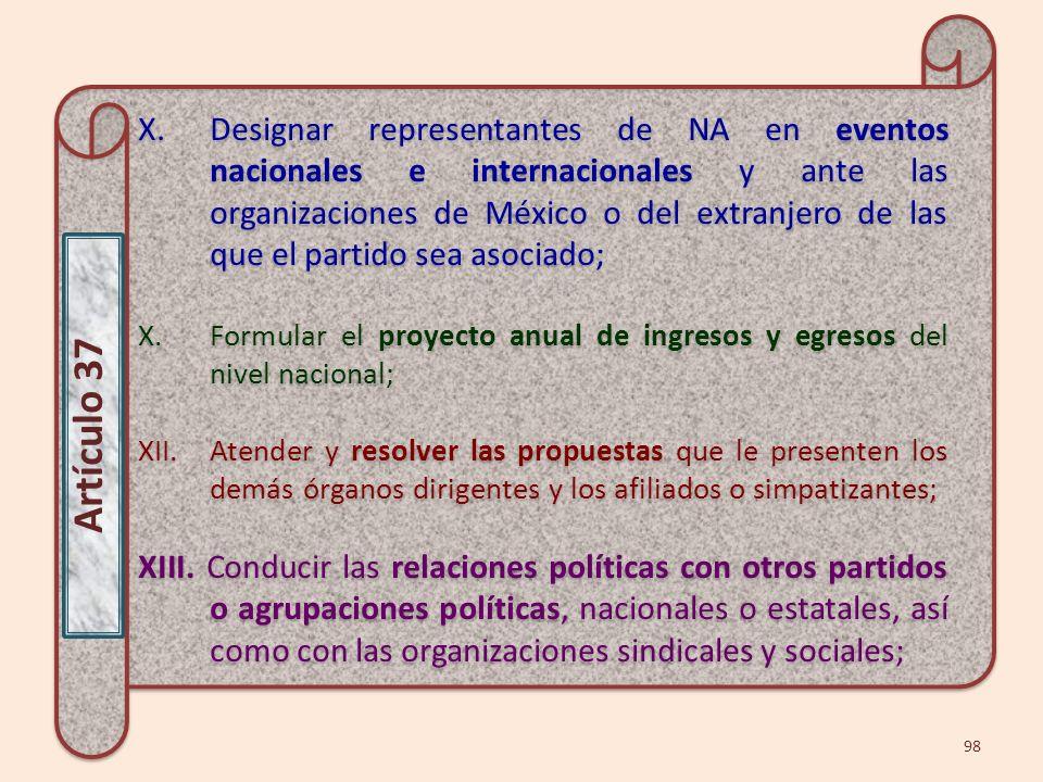Designar representantes de NA en eventos nacionales e internacionales y ante las organizaciones de México o del extranjero de las que el partido sea asociado;