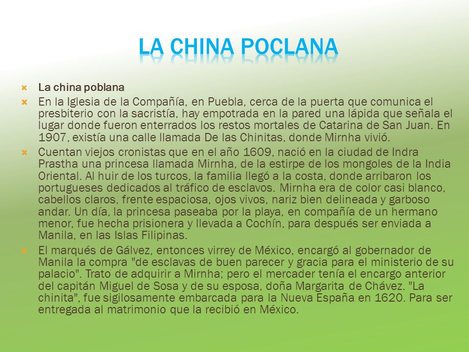 LA CHINA POCLANA La china poblana.