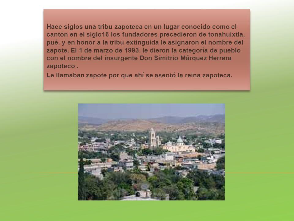 Hace siglos una tribu zapoteca en un lugar conocido como el cantón en el siglo16 los fundadores precedieron de tonahuixtla, pué. y en honor a la tribu extinguida le asignaron el nombre del zapote. El 1 de marzo de 1993. le dieron la categoría de pueblo con el nombre del insurgente Don Simitrio Márquez Herrera zapoteco .