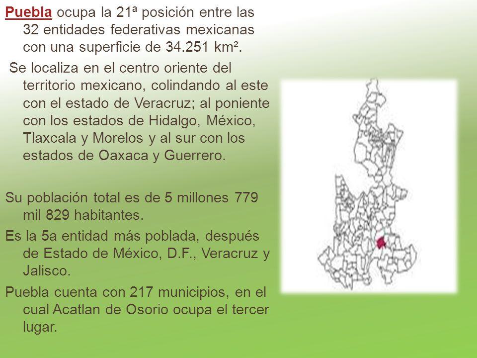 Puebla ocupa la 21ª posición entre las 32 entidades federativas mexicanas con una superficie de 34.251 km².