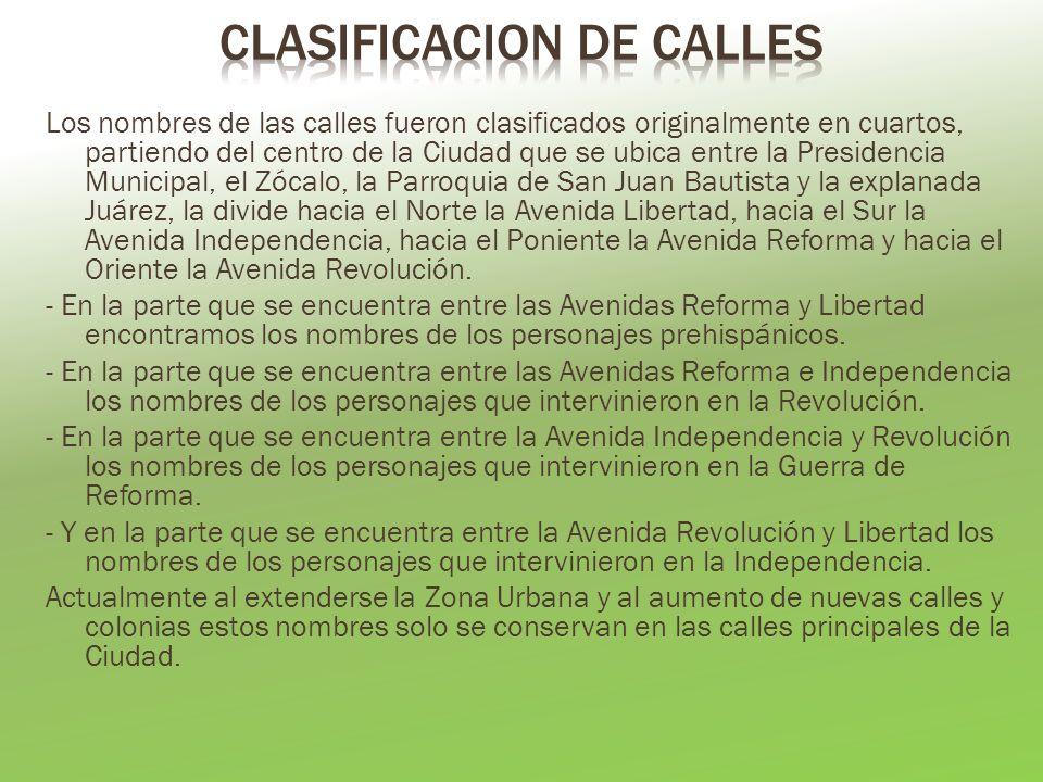 CLASIFICACION DE CALLES