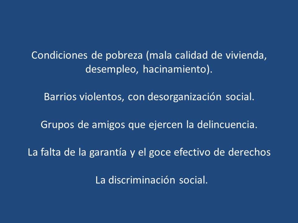 Condiciones de pobreza (mala calidad de vivienda, desempleo, hacinamiento).