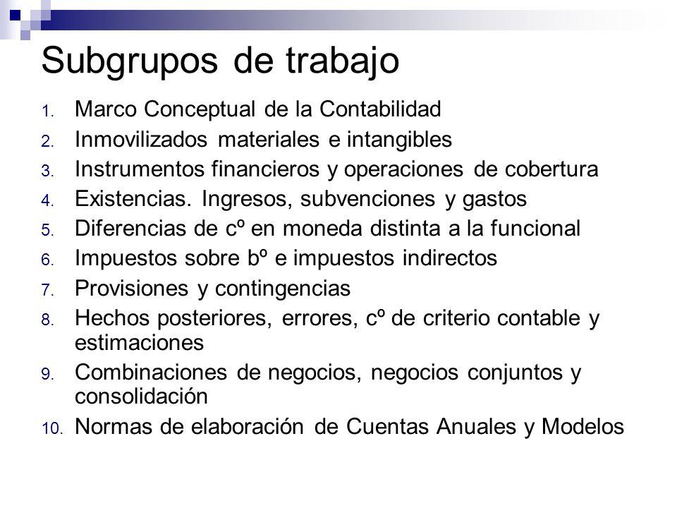 Subgrupos de trabajo Marco Conceptual de la Contabilidad