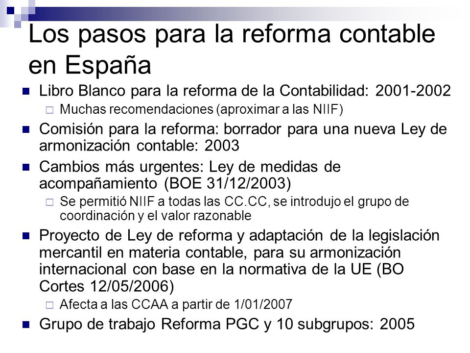 Los pasos para la reforma contable en España