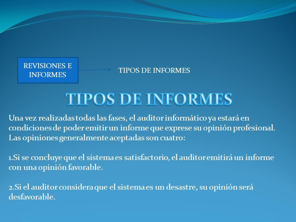 REVISIONES E INFORMES TIPOS DE INFORMES. TIPOS DE INFORMES.