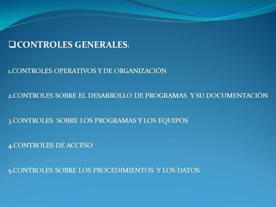 CONTROLES GENERALES: 1.CONTROLES OPERATIVOS Y DE ORGANIZACIÓN