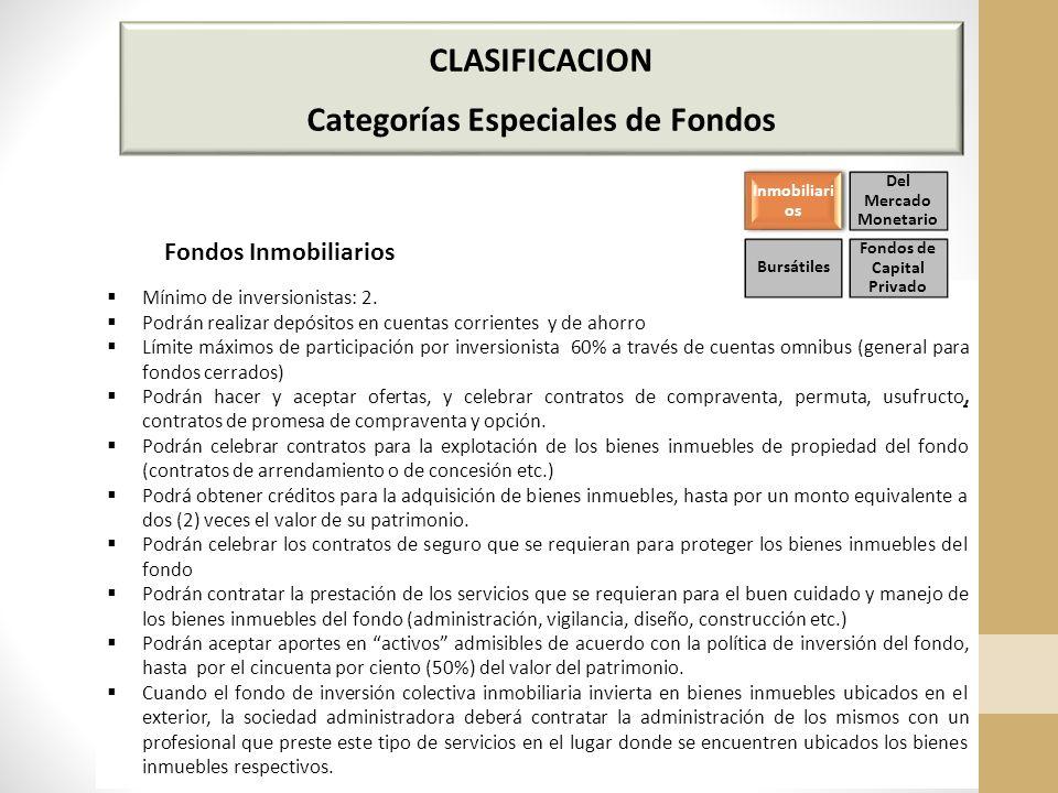 CLASIFICACION Categorías Especiales de Fondos